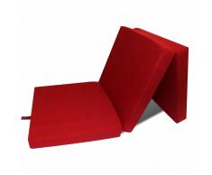 vidaXL Matelas en mousse pliable rouge 190 x 70 9 cm