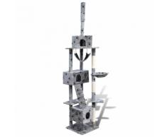 vidaXL Arbre à chat en gris avec empreinte de patte 220-240 cm 3 niches