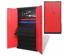vidaXL Armoire de rangement d'outils en métal avec coffre à outils Noir-rouge