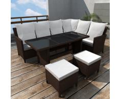 vidaXL Salon de jardin en polyrotin marron 8 personnes