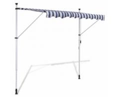 vidaXL Auvent rétractable manuel 300 cm Bleu/blanc