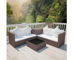 vidaXL Salon de jardin en polyrotin marron avec coffre rangement