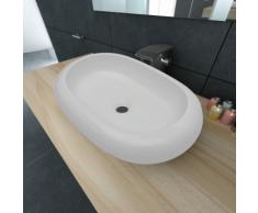 vidaXL Luxueuse Vasque à poser en céramique Ovale Blanche 63 x 42 cm