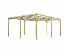 Habrita HABRITA - Carport double en bois autoclavé toit plat couvert