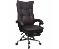 vidaXL Chaise de bureau inclinable avec repose-pieds Marron