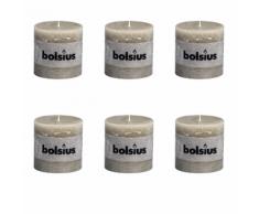 Bolsius Lot de 6 bougies 100 x mm gris claire