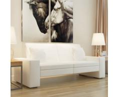 vidaXL Canapé-lit avec larges accoudoirs en cuir artificiel Blanc