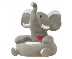 vidaXL Chaise pour enfants en peluche Éléphant gris