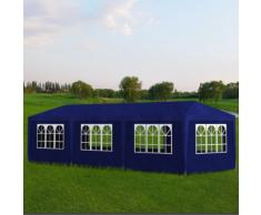 vidaXL Tonnelle de jardin Tente réception 8 murs Bleu 9 x 3 2,5 m