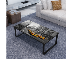 vidaXL Table Basse Rectangulaire en Verre Imprimé
