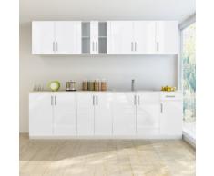 vidaXL Armoire de cuisine blanc brillant 8 pcs avec sous-évier