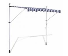 vidaXL Auvent rétractable manuel 350 cm Bleu/blanc