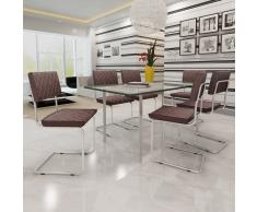 vidaXL 6 pièces Chaise de salle à manger avec Brun