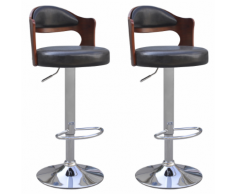 vidaXL 2 tabourets de bar noirs en cuir artificiel avec dossiers courbés