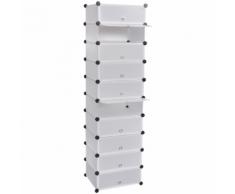 vidaXL Meuble à chaussure blanc 10 compartiments 47 x 37 172 cm