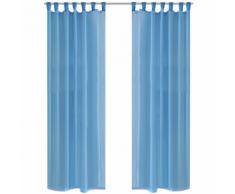 vidaXL Rideau transparent turquoise 140 x 225 cm 2 pcs