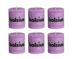 Bolsius Lot de 6 bougies 80 x 68 mm pourpre