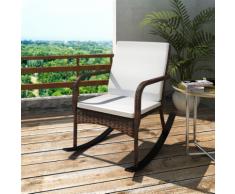 vidaXL Chaise à bascule de jardin Poly Rotin Marron