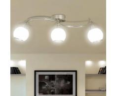 vidaXL Plafonnier avec abat-jour en verre et 3 ampoules E14