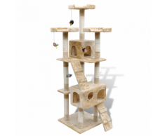 vidaXL Arbre à chat 170 cm en beige2 niches