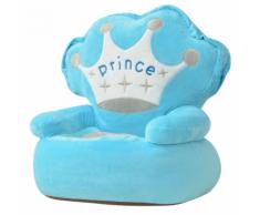 vidaXL Chaise pour enfants en peluche Prince Bleu
