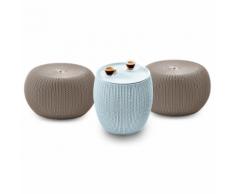 """Keter Ensemble urbain de meuble jardin 3 pièces """"KNIT"""" beige et bleu"""