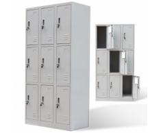 vidaXL Armoire à 9 portes de casier Gris