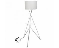 vidaXL Lampe de sol à long trépied Blanc