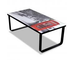 vidaXL Table basse en verre Design cabine téléphonique