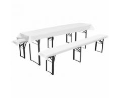 vidaXL Nappe pour table de brasserie avec 2 housses de bancs Blanc 240x70cm