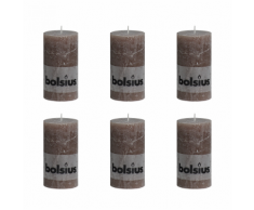 Bolsius Lot de 6 bougies 130 x 68 mm taupe
