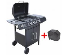 vidaXL Barbecue grill à gaz 4 + 1 brûleurs Noir