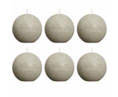 Bolsius bougie boule rustique 80mm 6 pièces en gris