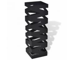 vidaXL Noir Carré Porte-parapluie Stockage pour cannes bâtons Acier 48,5 cm