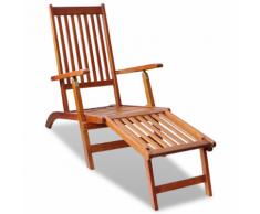 vidaXL Chaise de terrasse avec repose-pied Bois d'acacia