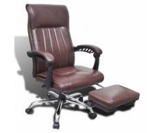 vidaXL Chaise de bureau en cuir artificiel marron avec repose-pieds réglable