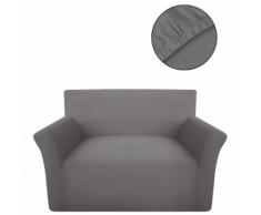 vidaXL housse de canapé en coton jersey extensible gris