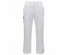 vidaXL 2 pantalons de cuisine blancs avec taille élastiquée et cordon M