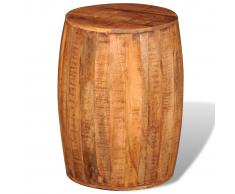vidaXL Tabouret tambour en bois brut de manguier