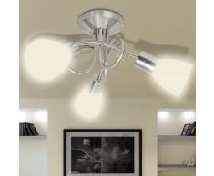 vidaXL Plafonnier avec abat-jour en verre 3 ampoules E14