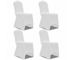 vidaXL Housse de chaise extensible 4 pcs Blanc