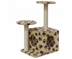 vidaXL Arbre à chat Grattoir 64 cm 1 Niche Beige avec empreinte de patte