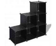 vidaXL Étagère noire à 6 compartiments cubiques 110 x 37 cm