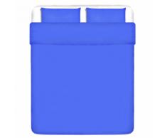 vidaXL Trois pièces housse de couette en coton Bleu 200x200/80x80 cm
