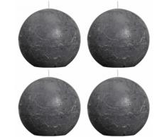 Bolsius bougie boule rustique grise foncée 100mm 4 pièces