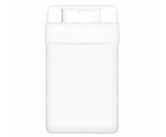 vidaXL 2 pièces housse de couette en coton Blanc 155x200/60x70 cm