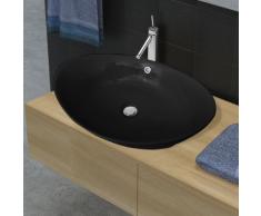 vidaXL Lavabo ovale en céramique noire de luxe avec trop-plein 59 x 38,5 cm