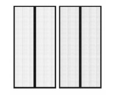 vidaXL Rideau de porte avec bande 210 x 100 cm 2 pcs Noir