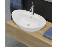 vidaXL Luxueuse vasque céramique ovale avec trop plein
