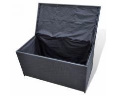 vidaXL Coffre de rangement en résine tressée noir 116 x 60 cm